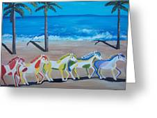 Colored Art Horses Greeting Card