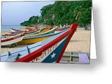 Colorful  Fishing Boats On Crashboat Beach Greeting Card