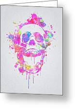 Cool And Trendy Pink Watercolor Skull Greeting Card
