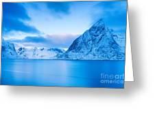 Cool Blue Dawn Over Mount Olstind Greeting Card