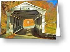 Covered Bridge Watercolor  Greeting Card