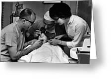 Dentist Staff Girl Circa 1960 Black White 1950s Greeting Card