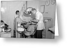 Dentist Working Patient October 18 1962 Black Greeting Card