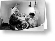 Doctor Giving Toddler Shot 1958 Black White Baby Greeting Card