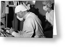 Doctor Nurse In Operating Room May 1964 Black Greeting Card