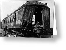 Exploded Train Car Robbery October 1923 Black Greeting Card