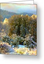 First Snow And Bosque Glow Greeting Card