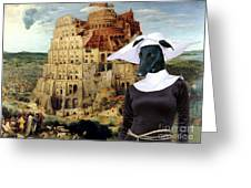 Galgo Espanol - Spanish Greyhound Art Canvas Print -the Tower Of Babel  Greeting Card