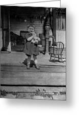 Girl Hugging Stuffed Animal Porch 1920s Black Greeting Card