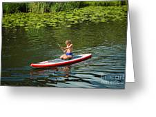 Girl In Canoe Greeting Card