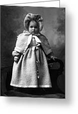 Girl Posing In Winter Coat 1903 Black White Greeting Card