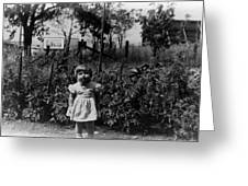 Girl Tomato Patch 1950s Black White Archive Kids Greeting Card