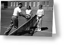Girls Getting Tennis Lesson Circa 1960 Black Greeting Card