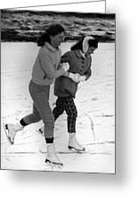 Girls Ice Skating Circa 1960 Black White 1950s Greeting Card