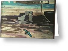 Gray Skies Out On The Sea  Greeting Card
