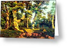 Green Summer-the Oak Forest Greeting Card
