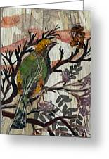 Green-yellow Bird Greeting Card