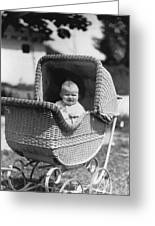 Happy Baby In Wicker Buggy Fall 1925 Black White Greeting Card