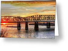 Harahan Bridge In Memphis,tennessee At Sunset Greeting Card