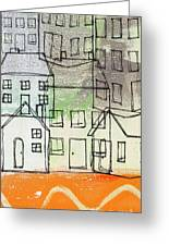 Houses By The River Greeting Card by Linda Woods