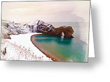 Illustration Of  The Durdle Door In Snow Greeting Card