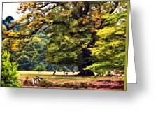 Landscape Under A Big Oak In Autumn Greeting Card
