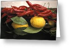Lemons And Dried Red Peppers  For Sale Greeting Card