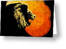Lion Illustration Print Silhouette Print Night Predator Greeting Card