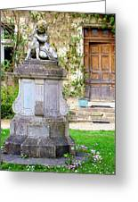 Little Angel With A Dog In The Montresor Garden In The Loire Valley Fr Greeting Card