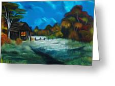 Little Pig's Barn In The Moonlight Dreamy Mirage Greeting Card
