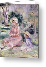 Madame Renoir And Her Son Pierre Greeting Card by Pierre Auguste Renoir