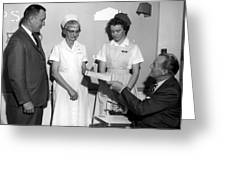 Man Male Handing Award Nurse February 1964 Black Greeting Card