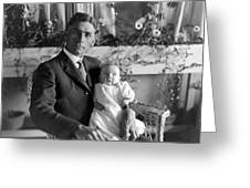 Man Male Holding Baby 1910s Black White Archive Greeting Card