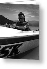 Man Male In Racing Boat June 12 1963 Black White Greeting Card