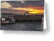 Maryport Harbour At Sunset Greeting Card
