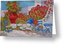 Mediterranean Courtyard.2003 Greeting Card