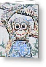 Monkey Rainbow Splattered Fragmented Blue Greeting Card