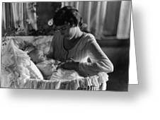 Mother Baby 1910s Black White Archive Bassinet Greeting Card