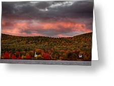 New England Fall Foliage Over The Small White Church Greeting Card