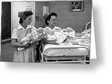 Nurses Training Dummy Babies Circa 1960 Black Greeting Card