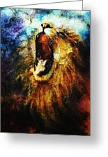 Painting Of A Mighty Roaring Lion Emerging From An Abstract Desert Pattern Pc Collage Greeting Card