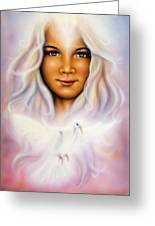 Painting Of A Young Girls Angelic Face With Radiant White Hair And A Shining Dove Greeting Card