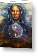 Painting On Canvas Of A Space Woman Goddess Lada As A Mighty Loving Guardian With Symbol  Jin Jang Greeting Card