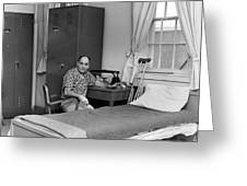 Patient Sitting Desk In Hospital Room Circa 1960 Greeting Card