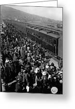 People Greeting Troop Train 19171918 Black White Greeting Card