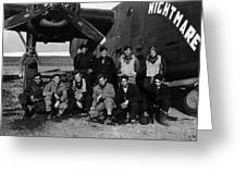 Pilot Crew W Airplane Nightmare 19411945 Black Greeting Card