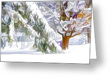 Pine Branch Tree Under Snow Greeting Card