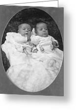 Portrait Headshot Babies 1890s Black White Baby Greeting Card