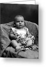 Portrait Headshot Baby Fruited Branch 1910s Greeting Card