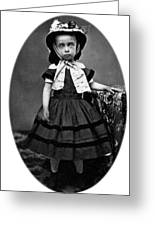 Portrait Headshot Girl In Bonnet 1880s Black Greeting Card